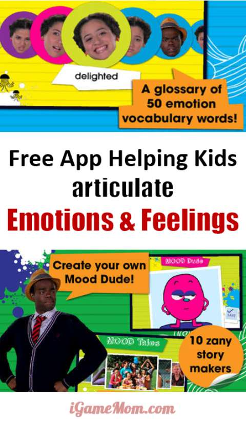 Free app helping kids recognize and verbalize different emotions and feelings, the first step to emotional intelligence, and a hard to teach social skill for kids