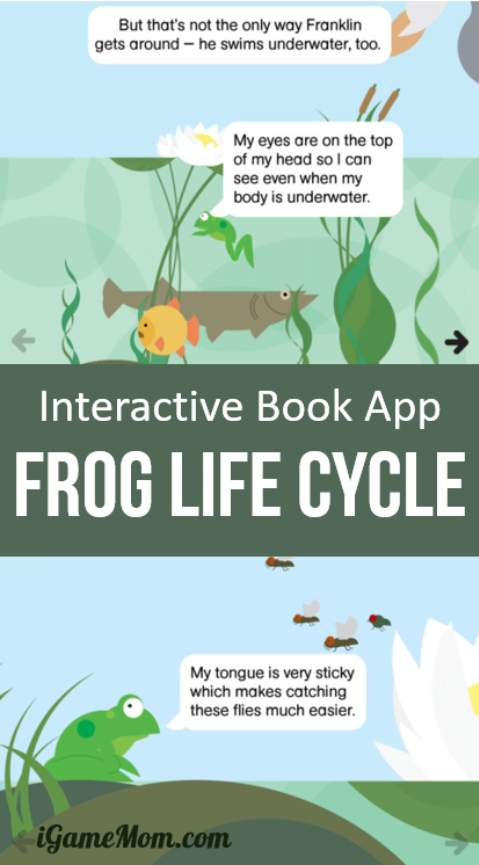 What a fun way to learn frog life cycle! This interactive non fiction app for preschool kids tells the story of a frog from hibernation, to mating, to birth, from tadpoles, to maturation to frog. Also included are behaviors like feed, body features like the eyes. All is told by a frog with kids friendly language and tones. Great for school science class or homeschool.