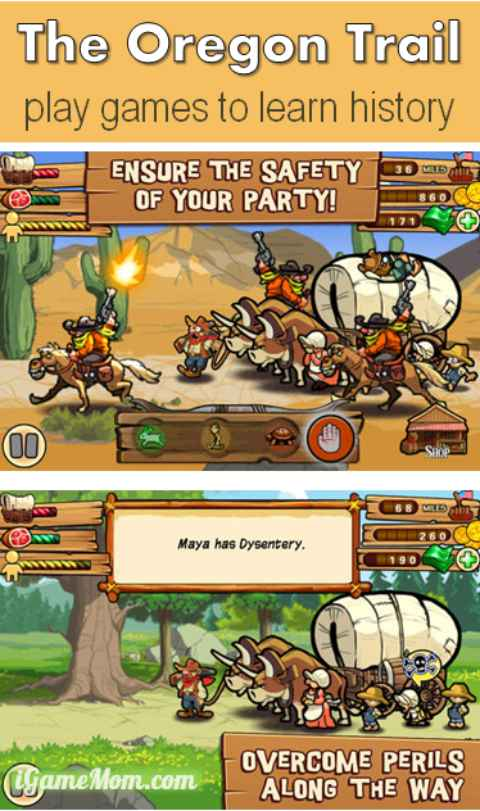 The Oregon Trail is a great History Simulation game for kids that is available on iPhone, iPod, iPad and Android devices, as well as on computers. Kids role play games in historical setting, a hands on supplement to social studies. The students will love it.