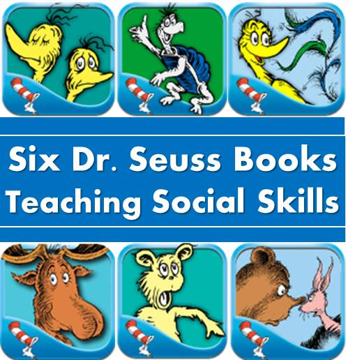 6 Dr.Seuss Books teaching kids social skills, such as sympathy, standing up for self, accepting and believing oneself. These are great stories to be incorporated into social skill lessons and activities for kids of all ages at school or homeschool.