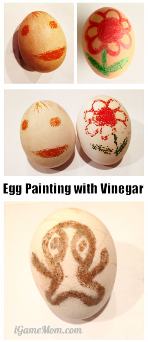 Science craft project for kids: Egg coloring and painting with vinegar, fun STEAM activity combining science and art | Easter