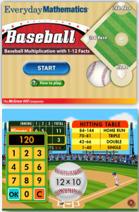 Everyday Mathematics Baseball Multiplication App