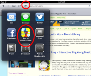 How to add website icon to iPhone iPAD home screen step1