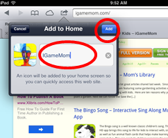 How to add website icon to iPhone iPAD home screen step2