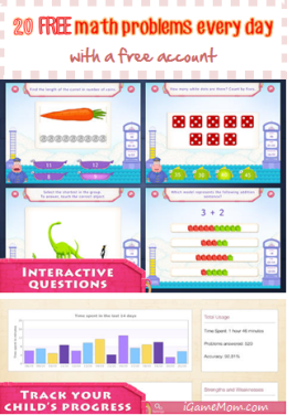 20 free math problems everyday with a free account