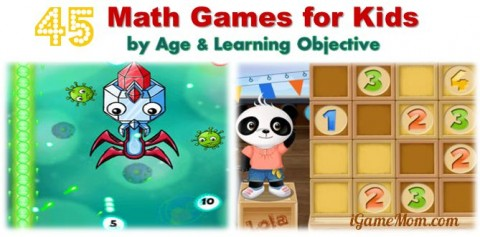 Math games for kids grouped by age and learning objective