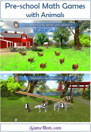 Preschool math game with animals