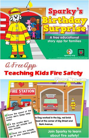 Free App Teaching Kids Fire Safety - Sparky's Birthday Surprise