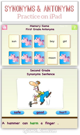 Fun App Teaching Kids Synonyms and Antonyms