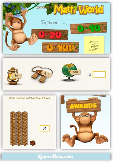 10Monkey Math Practice Website for Kids