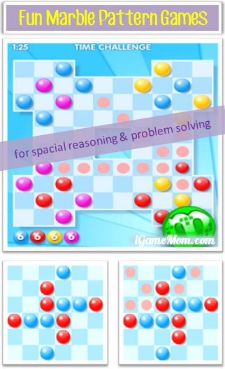 Free Marble Pattern Games for Spacial Reasoning Problem Solving Skills