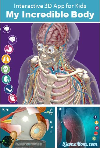 Interactive 3D app for kids - my incredible body