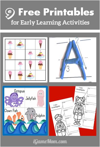 9 sets free printables for early learning activities