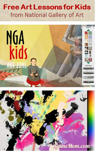 Free Art Lessons for Kids from National Gallery Art, interactive hands-on activities based on art collection at the institute: portrait, landscape, seascape, still life, action painting, exploring color, collage. Available as free app, and on NGA website.