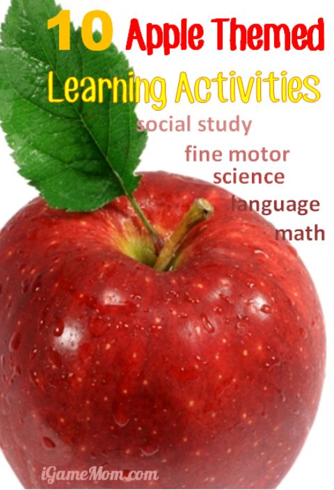 10 apple themed learning activities for kids: science, math, language, fine motor, social studies, so many fun ideas for kids from preschool kindergarten to school age | STEM