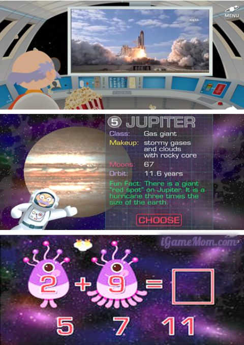 Fun app for kids about space