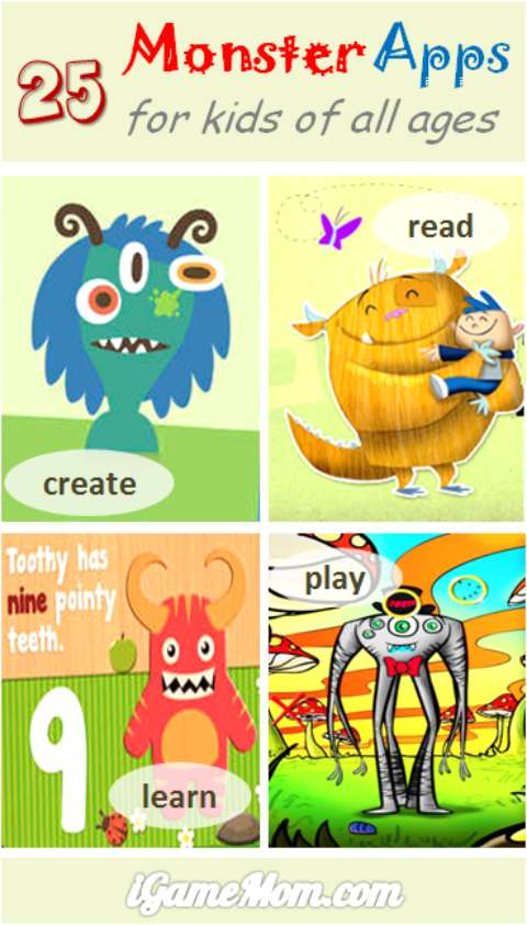 25 monster apps for kids to create, read, play, and learn. Great and fun interactive activities for Halloween, also good for any time of the year.