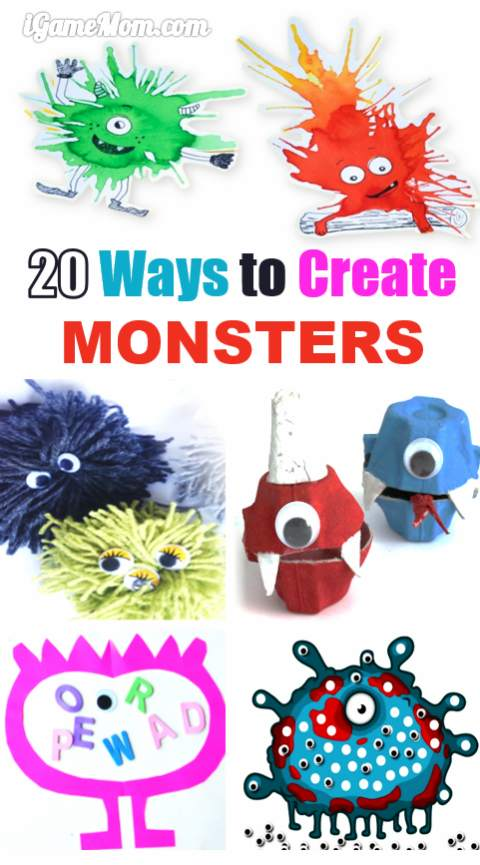 Overcome monster fear with creative monster crafts. Can you believe there are so many ways to create monsters?  Halloween | fun indoor activities