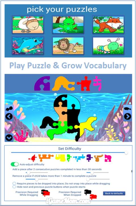 play puzzle and grow vocabulary - fun animal puzzle app