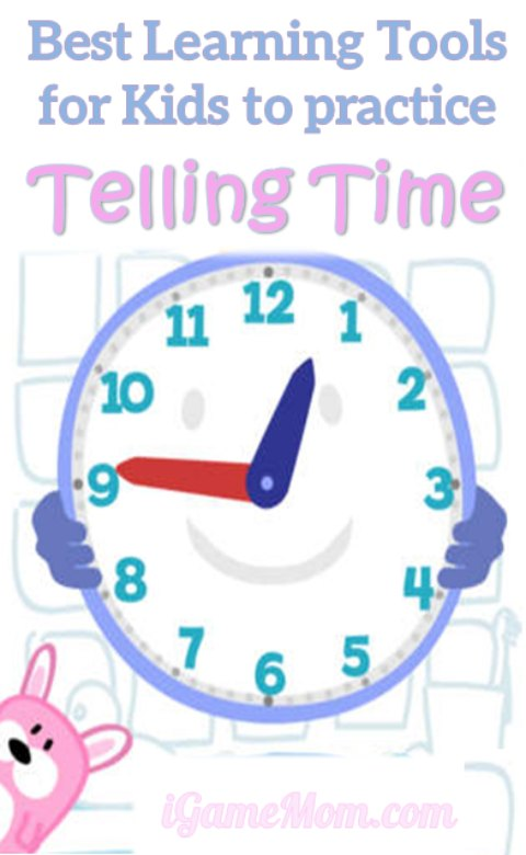 Best Learning Tools for Kids to Practice Telling Time: games, activities, and more fun teaching ideas for toddler, preschooler and school age kids.