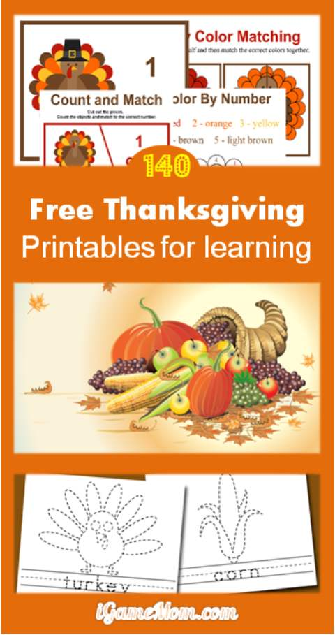 Free Thanksgiving Printable for Learning. Not just worksheets, there are over 140 pages of fun educational activities for kids from preschool to kindergarten to school age: math, crafts, words, spelling, coloring, and more.