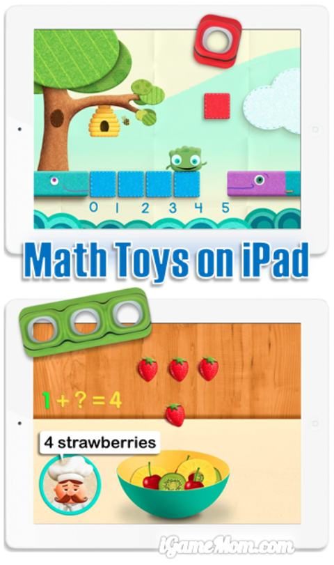 Interactive math toys on iPad offers hands-on learning with 6 free apps - you can use the free apps without toys. It is fun hands-on way for preschool kids to learn numbers, counting, addition, subtraction and other math operations and concepts.