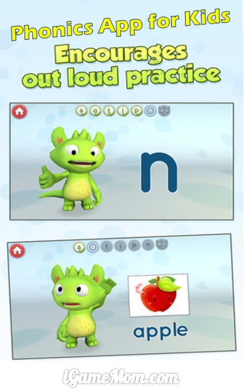 phonics app for kids encouraging out loud practice