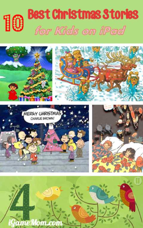 Best Christmas Stories for Kids on iPad - you can enjoy anytime anywhere. They can be easily projected to classroom board to share with the students, or project onto a big screen TV to share with the whole family. They are also great for holiday travels.