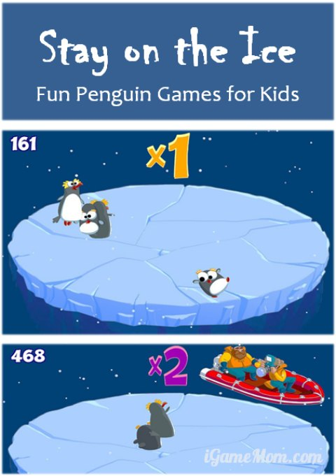 Fun penguin games for kids - stay on the ice