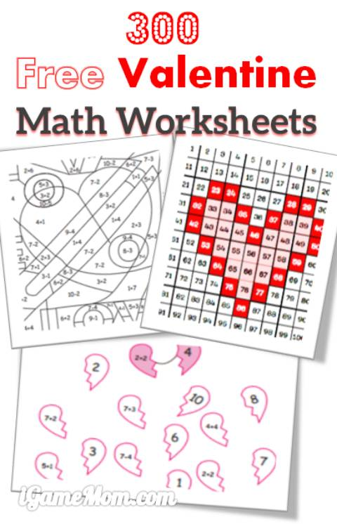 math worksheet : 300 free valentine math worksheets for kids  igamemom : Valentine Math Worksheets