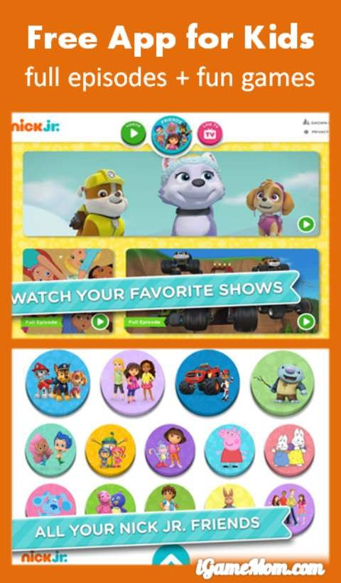 Free app for kids to watch full episodes of Nick Jr shows with added games
