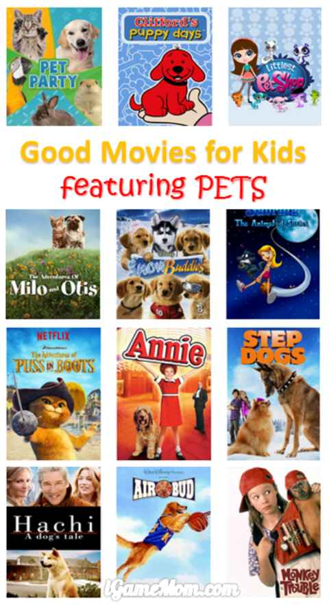 good movies for kids featuring pets - dogs cats and more