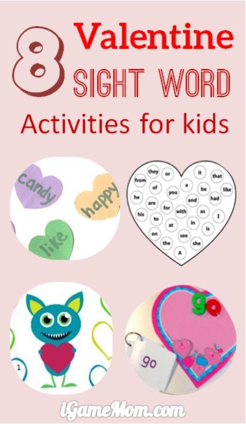 8 valentine sight words activities for kids. Black Bedroom Furniture Sets. Home Design Ideas