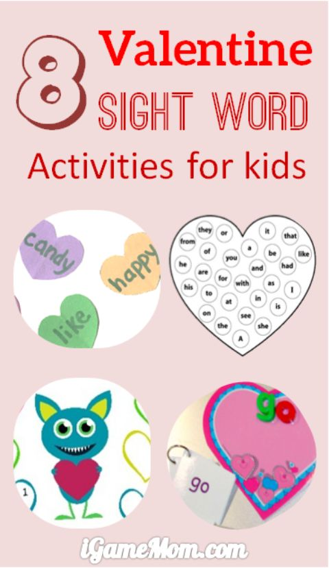 8 fun Valentine Sight word activities for kids, with free printables, little preparation needed. Great for classroom, or homeschool.