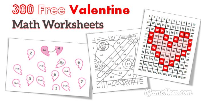 graphic regarding Free Printable Valentine Worksheets called 300 No cost Valentine Math Worksheets for Youngsters