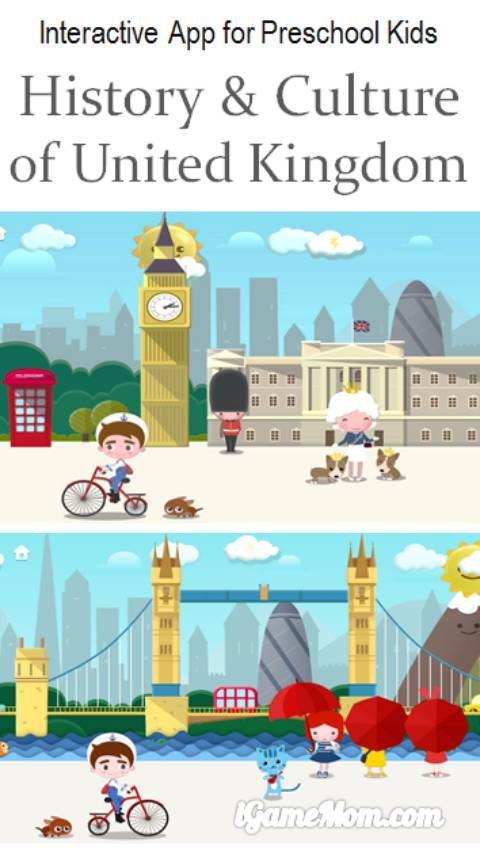 interactive app for preschoolers learn history culture of United Kingdom