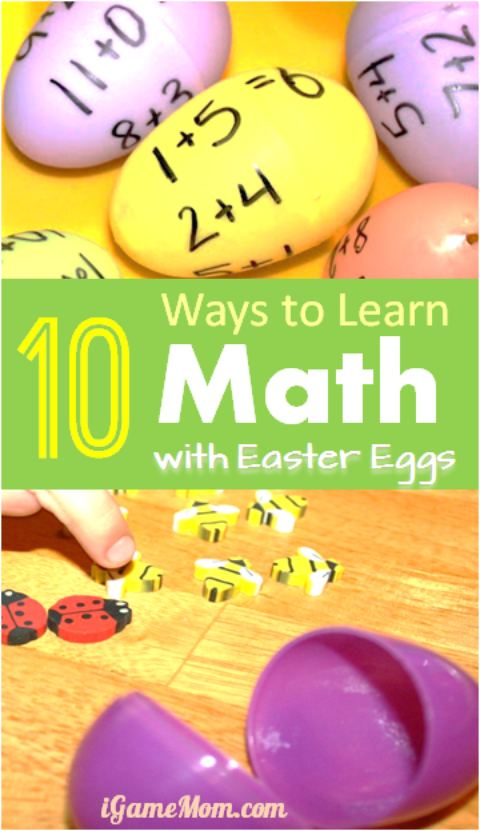 10 ways to learn math with plastic Easter Eggs - math games and printable worksheets to help kids learn numbers, counting, odd even numbers, and math operations. Fun STEM learning activities for kids from toddler, preschool to upper elementary school