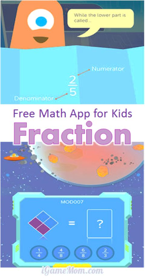 Free math app for kids explaining fractions