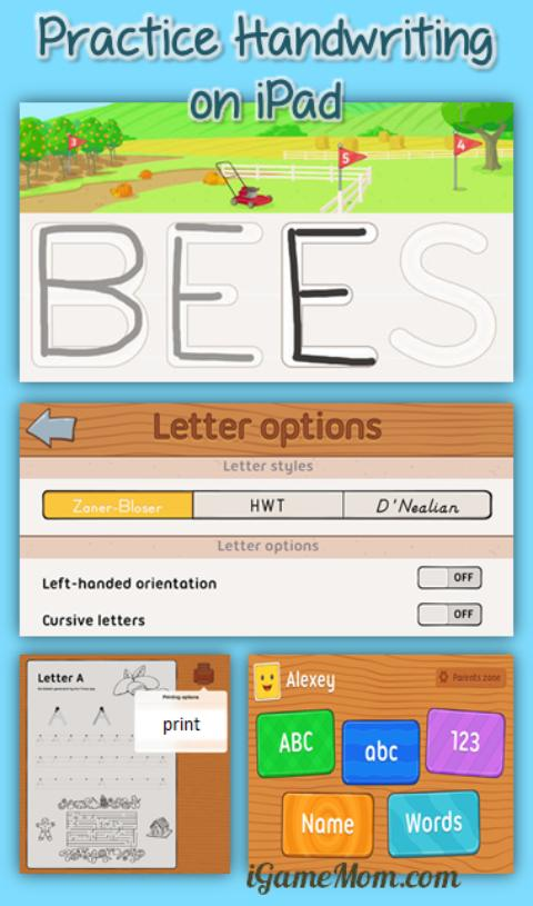 Practice handwriting on iPad with iTrace app for kids
