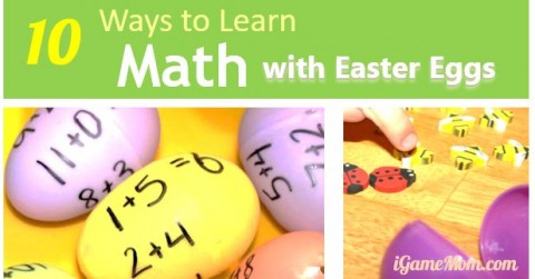 learn math with plastic Easter eggs