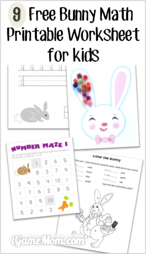 9 Free bunny math printable worksheets for preschool, kindergarten to early elementary school kids, counting, number, color by the sum, number maze, and more. Fun math activities for kids around Easter and any time of the year.