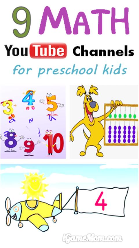 9 Math YouTube channels for preschool and kindergarten kids, with fun math videos and hands-on math activity ideas