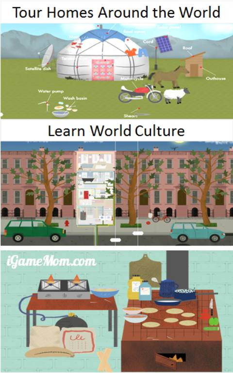 Explore homes around the globe to learn world culture - wonderful exploratory app for kids