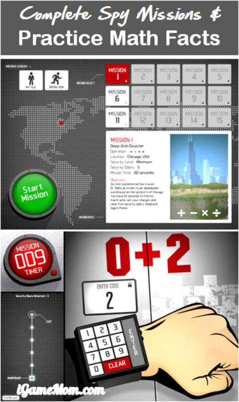 Math facts practice with spy game app Operation Math