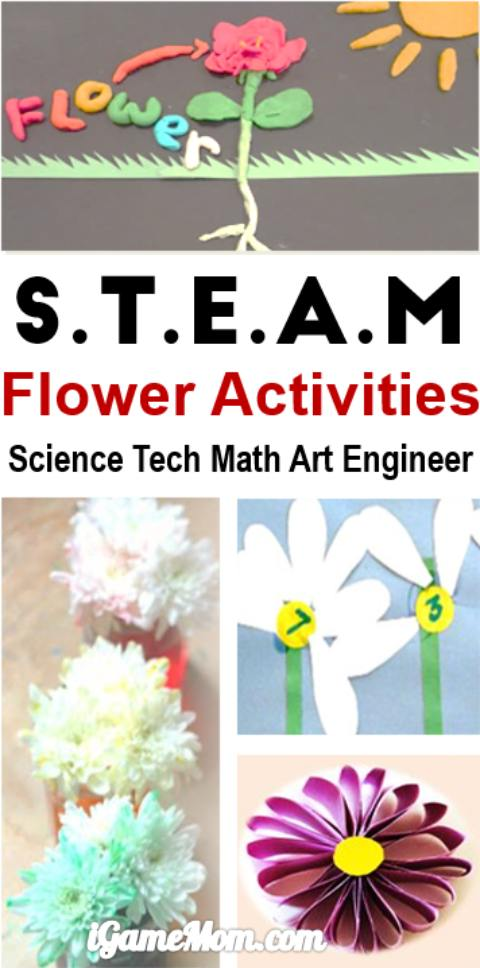 Flower themed STEM activities for kids: art and craft projects, science experiments, math activities, YouTube videos about flowers. Great learning activity ideas for kids from preschool to school age