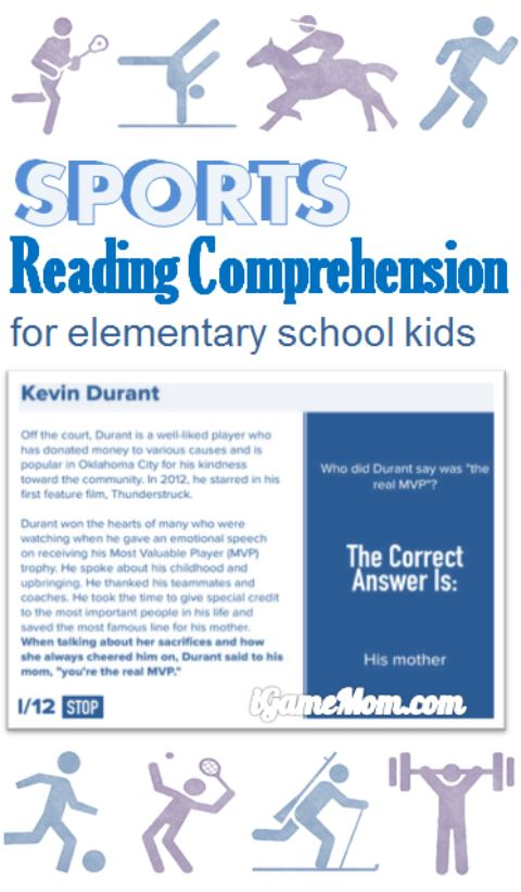 Sports Reading Comprehension app for elementary school kids