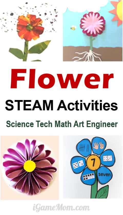 Flower themed STEAM activities for kids: art and craft projects, science experiments, math activities, YouTube videos about flowers. Great learning activity ideas for kids from preschool to school age