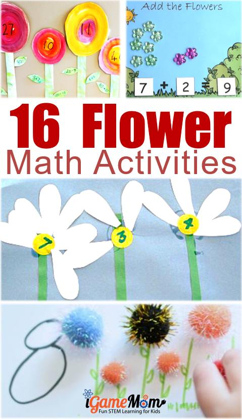 fun flower math activities for preschool and kindergarten kids, most will end with a flower craft, which will be a great gift idea for Mother's Day or birthday. Fun spring and summer math learning activities for kids.