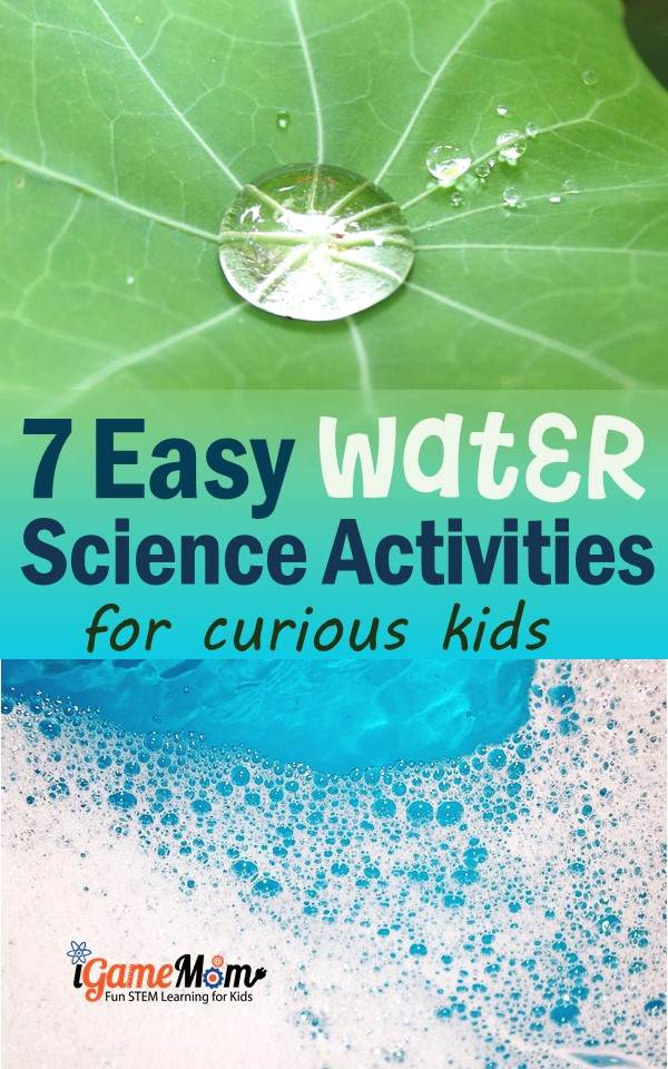 easy water science activities for curious kids: water cycle, surface tension, forces, water hardness, ... Fun STEM science activities for science camp, science class, homeschool