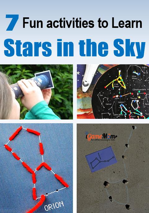 Fun activities for kids to learn stars in the sky and recognize constellations. Hands-on STEM projects for young astronomers for the summer night stargazing party